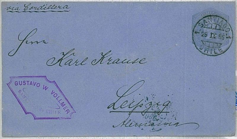CHILE - Postal Stationery : COLUMBUS COLOMBO -  Higgings & Gage #6a - to GERMANY
