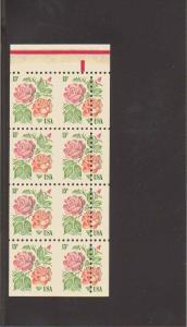 #1737 15¢ ROSES PANE OF 8 VERY MISCUT MINT N.H.