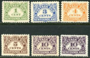 NEWFOUNDLAND Sc#J1, J3-J7 1939-49 Postage Dues Part Set OG Mint LH & NH