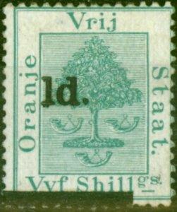 Orange Free State 1881 1d on 5s Green SG26 Type F Fine Unused