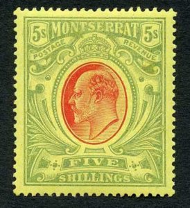 Montserrat SG47 5/- Red and Green/yellow M/M (Expertising stamp on reverse)