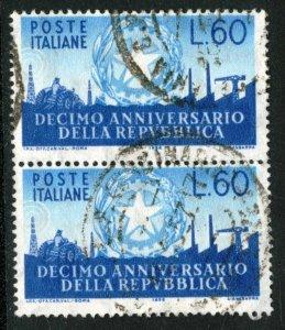 ITALY #712, USED PAIR - 1956 - ITALY252