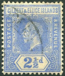 GILBERT & ELLICE ISLANDS-1916 2½d Bright Blue Sg 15 GOOD USED V34662