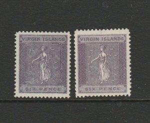 British Virgin Islands 1887/9 6d Both listed shades MM SG 38/9