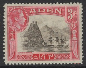 ADEN SG22 1939 3a SEPIA & CARMINE MTD MINT