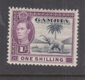 GAMBIA, 1938 KGVI, Elephant, 1s. Slate Blue & Violet, lhm.