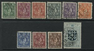 St. Lucia KGVI 1949 set values to 24 cents used