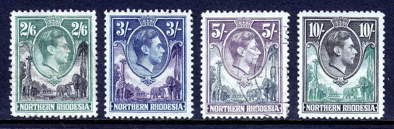 NORTHERN RHODESIA — SCOTT 41//44 — 1938 KGVI HIGH VALUES — MH/USED — SCV $49.00