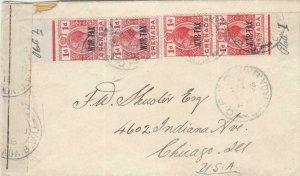 1918, Grenada to Chicago, IL, Rare Grenada (WW1) censor Tape (C3328)