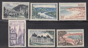 France, Sc # 719-724, MNH, 1954, Tourism