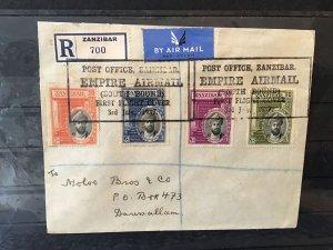 Zanzibar 1937  Empire Post Office First flight air multi stamps cover Ref R28399