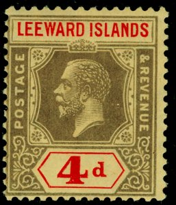 LEEWARD ISLANDS SG52, 4d black & red/pale yellow, VLH MINT.