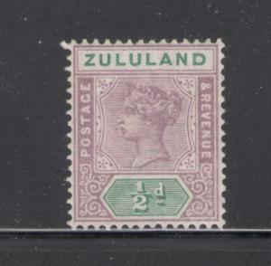 Zululand 1894 Queen Victoria 1/2 p Scott # 15 MH