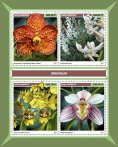 Mozambique - 2017 Orchids on Stamps - 4 Stamp Sheet - MOZ17119a