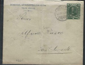 CHILE  (P3108B) 1918  PSE 4C ADVERTISING COVER TALCA TO SAN CLEMENTE