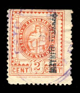 MEXICO - 1899/1900 2c RED FISCAL/REVENUE STAMP DISTRITO FEDERAL O/P