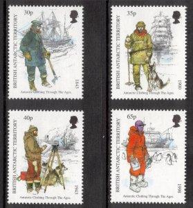 BRITISH ANTARCTIC 1998 Antarctic Clothing; Scott 259-62, SG 286-89; MNH