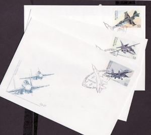 Belarus, Scott cat. 341-343. Fighter Aircraft issue on 3 First day covers. *