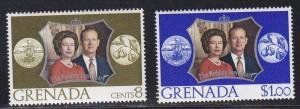Grenada MNH 466-7 QE II Silver Wedding Anniversary 1977