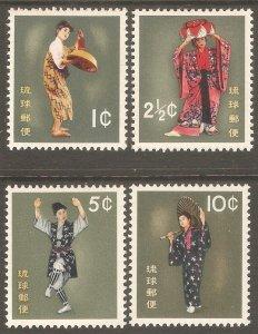 RYUKYU ISLAND Sc# 65 - 68 MH FVF Set-4 Dancers Costumes