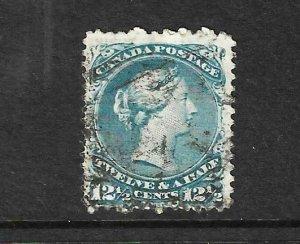 CANADA 1868-76  12 1/2c BLUE  QV FU  Sc 28  Sg 60c