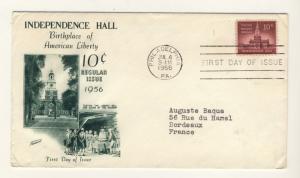 US - 1956 - Scott 1044 FDC - 10c Independance Hall -