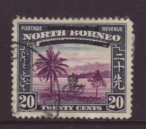 1947 North Borneo 20c With Bar Variety F/U SG344b