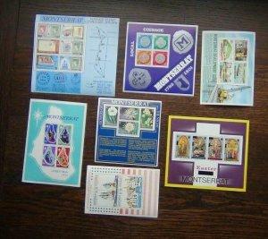 Montserrat 1976 1977 7 x M/S Coins Easter Revolution Flowers Christmas etc LMM