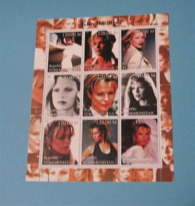 Turkmenistan - Unlisted Sheet of 9. Kim Basinger