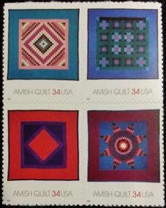 2001 34c Amish Quilts, Block of 4 Scott 3524-27 Mint F/VF NH