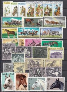 Horses from different continents - 32 small stamp lot  #1 - (2351)