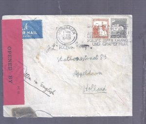 BRITISH MANDATE CENSOR COV PALESTINE NETHERLNDS 1940 RETURN GERMAN OCC. ISRAEL