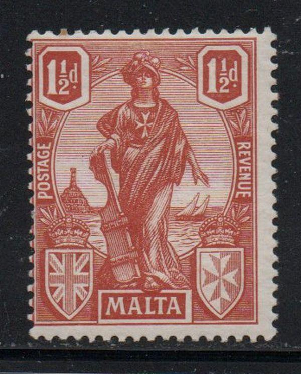 Malta Sc 102 1923 1 1/2 d orange brown Malta stamp mint