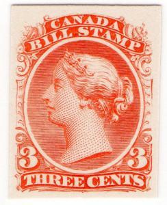 (I.B) Canada Revenue : Bill Stamp 3c (Printer's Proof)