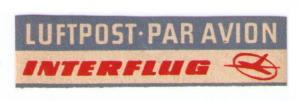 INTERFFLUG AIRLINES - SCARCE VINTAGE 1964 AIR MAIL LABEL CAT #GDR-B-2b (AM16)