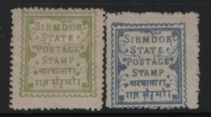INDIA, SIRMOOR 9-10 MINT HINGED REMNANTS TYPE A3, 1893