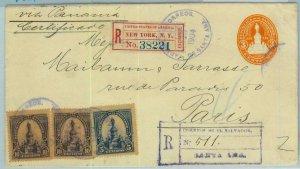 BK0343 - EL SALVADOR - POSTAL HISTORY: Register STATIONERY COVER to FRANCE 1904
