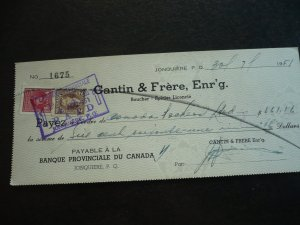 Canada - Revenue - KGVI Mufti & War Issue Stamps on cheque dated 1951
