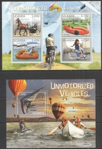 UG053 2012 UGANDA UNMOTORIZED VEHICLES TRANSPORT #2891-4+BL392 MNH