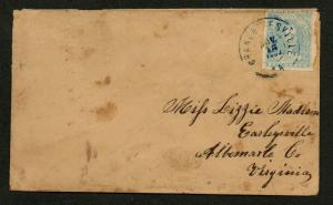 CSA Cover Scott #2e Stone Y Tied by Blue CDS Charlottesville VA Nov 15, 1863