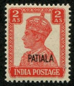 India - Patiala SC# 108 (SG# 109) King George VI, 2as, MH