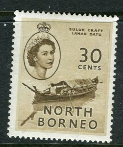 NORTH BORNEO; 1955 early QEII issue fine Mint hinged value, 30c