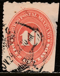 MEXICO 225 10cts LARGE NUMERAL WATERMARKED, USED.F. (141)