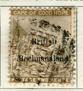 BECHUANALAND; 1885-87 early classic QV Cape Good Hope Optd. issue used 2d.