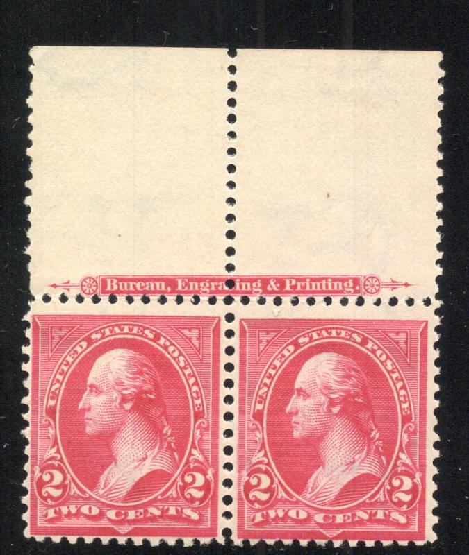 US#267 Pink - Type III - Margin Pair w/Imprint - N.H./L.H.