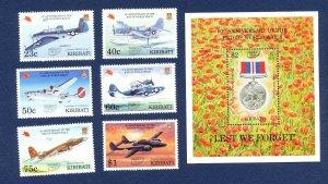 KIRIBATI - Scott 691-697 - FVF MNH - WWI airplanes, o/p for Pacific 97 Stamp Sho