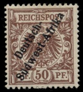 GERMAN SOUTHWEST AFRICA #6, 50pf red brown, og, LH, VF, Scott $225.00