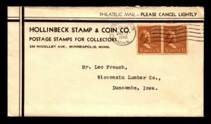 1940 Hollinbeck Stamp Co Cover w/ Letter - L5321