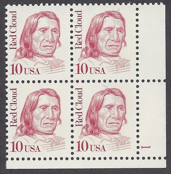 2175 Plate block 10cent Red Cloud Oglala Lakota Sioux Indian
