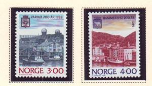Norway Sc 938-9 1989 Towns 200 yrs stamp NH